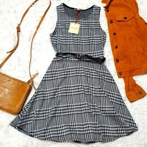 WORK HOLIDAY SKATER STYLE SOUNDHOOTH BELTED DRESS